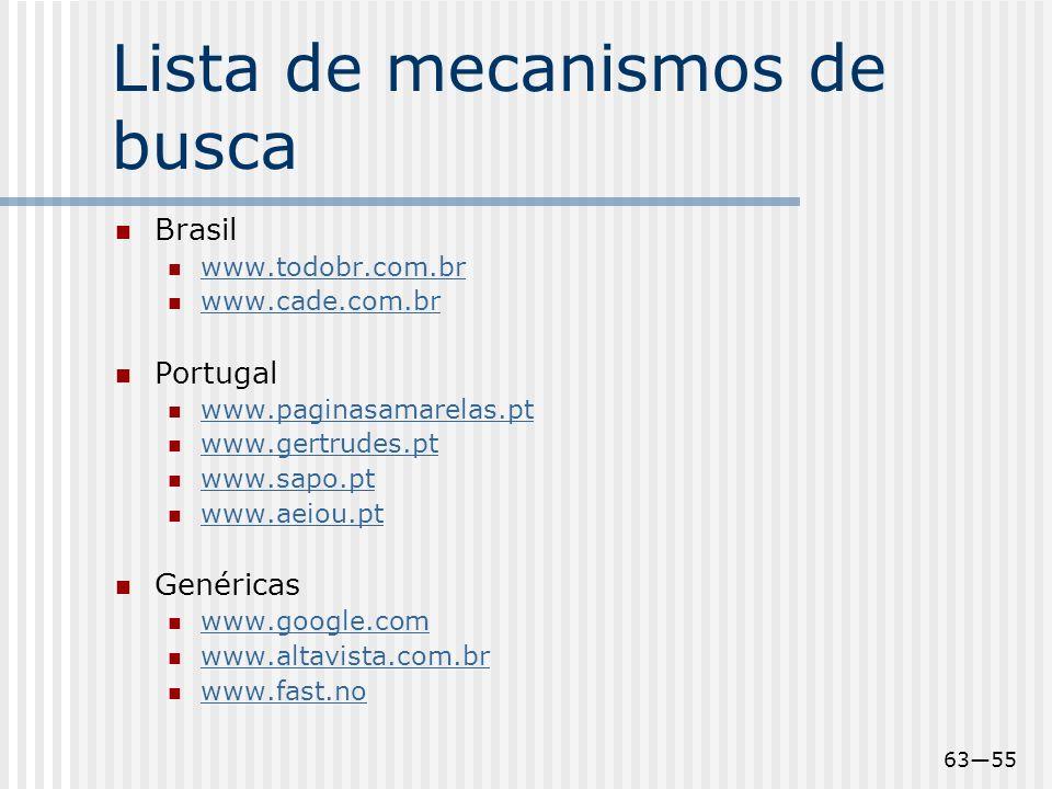 6355 Lista de mecanismos de busca Brasil www.todobr.com.br www.cade.com.br Portugal www.paginasamarelas.pt www.gertrudes.pt www.sapo.pt www.aeiou.pt G