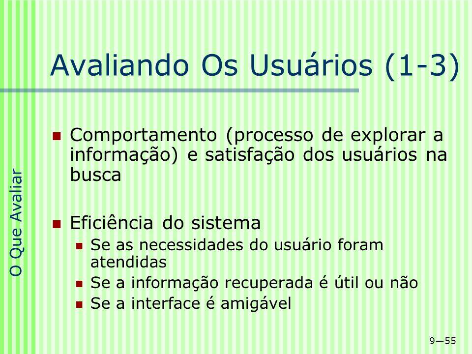 955 Avaliando Os Usuários (1-3) Comportamento (processo de explorar a informação) e satisfação dos usuários na busca Eficiência do sistema Se as neces