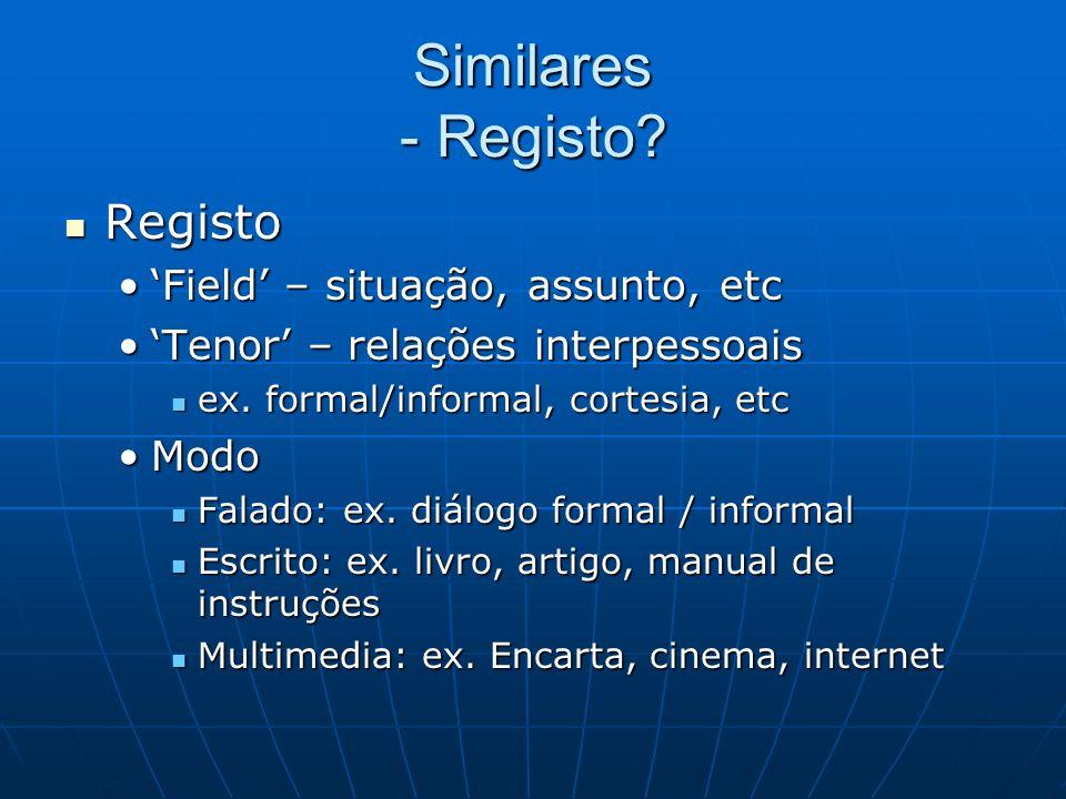 Similares - Registo? Registo Registo Field – situação, assunto, etcField – situação, assunto, etc Tenor – relações interpessoaisTenor – relações inter