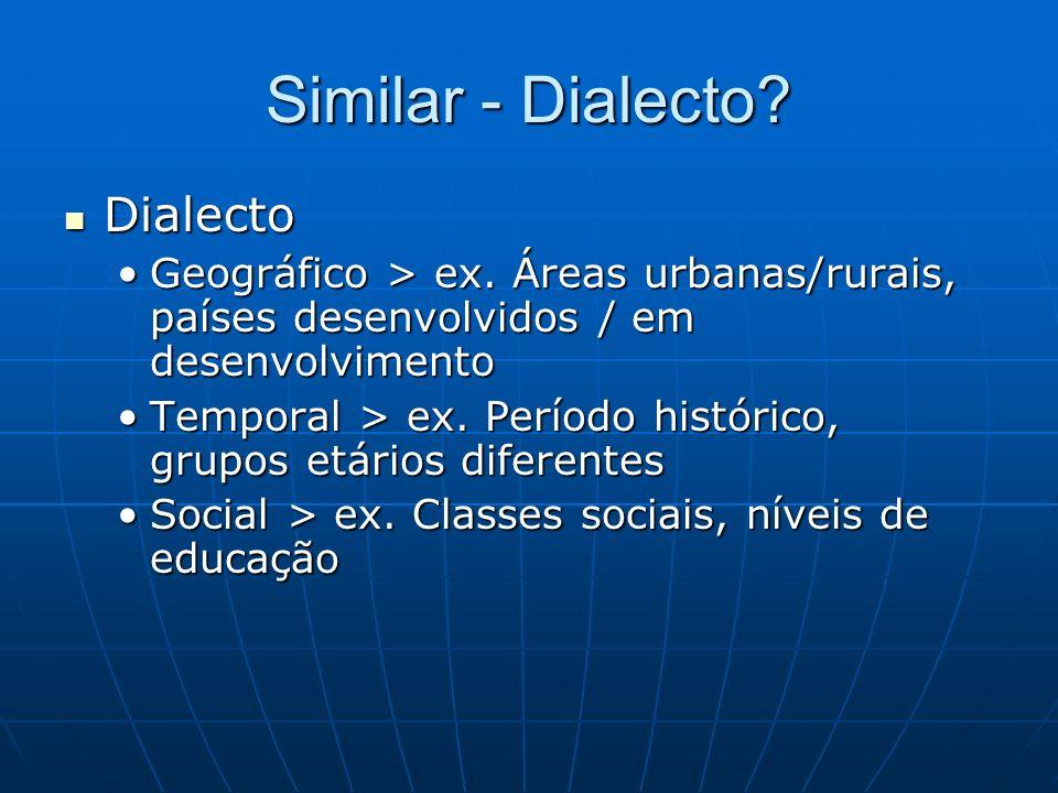 Similar - Dialecto? Dialecto Dialecto Geográfico > ex. Áreas urbanas/rurais, países desenvolvidos / em desenvolvimentoGeográfico > ex. Áreas urbanas/r