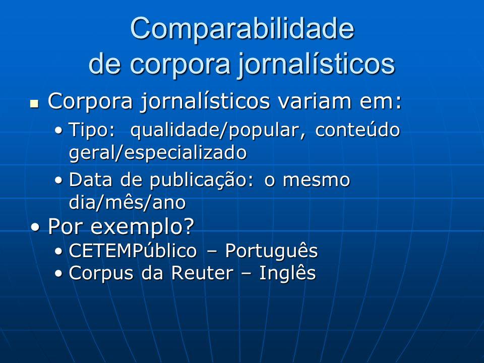 Comparabilidade de corpora jornalísticos Corpora jornalísticos variam em: Corpora jornalísticos variam em: Tipo: qualidade/popular, conteúdo geral/esp