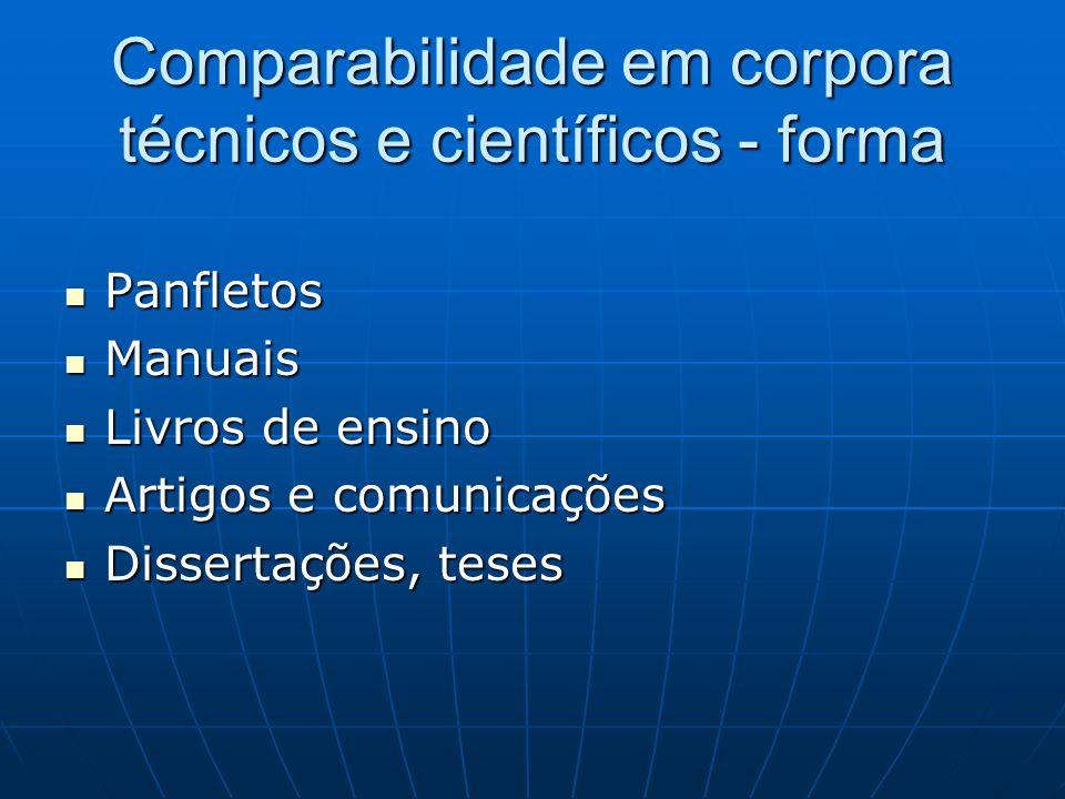 Comparabilidade em corpora técnicos e científicos - forma Panfletos Panfletos Manuais Manuais Livros de ensino Livros de ensino Artigos e comunicações