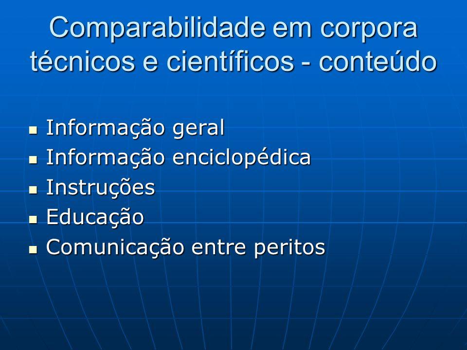 Comparabilidade em corpora técnicos e científicos - conteúdo Informação geral Informação geral Informação enciclopédica Informação enciclopédica Instr