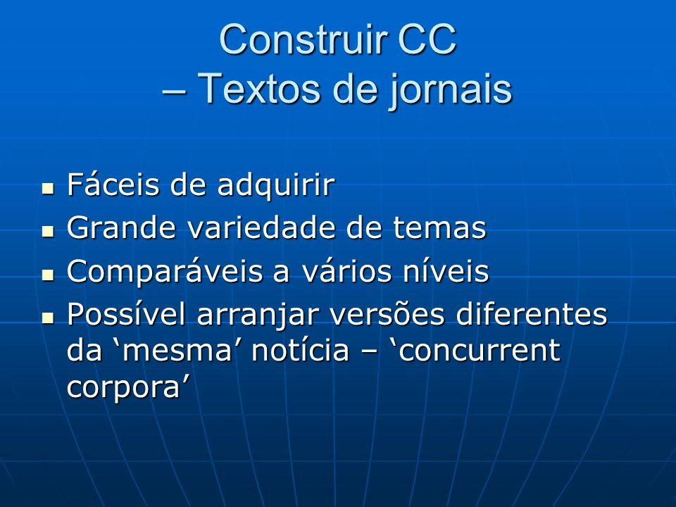 Construir CC – Textos de jornais Fáceis de adquirir Fáceis de adquirir Grande variedade de temas Grande variedade de temas Comparáveis a vários níveis