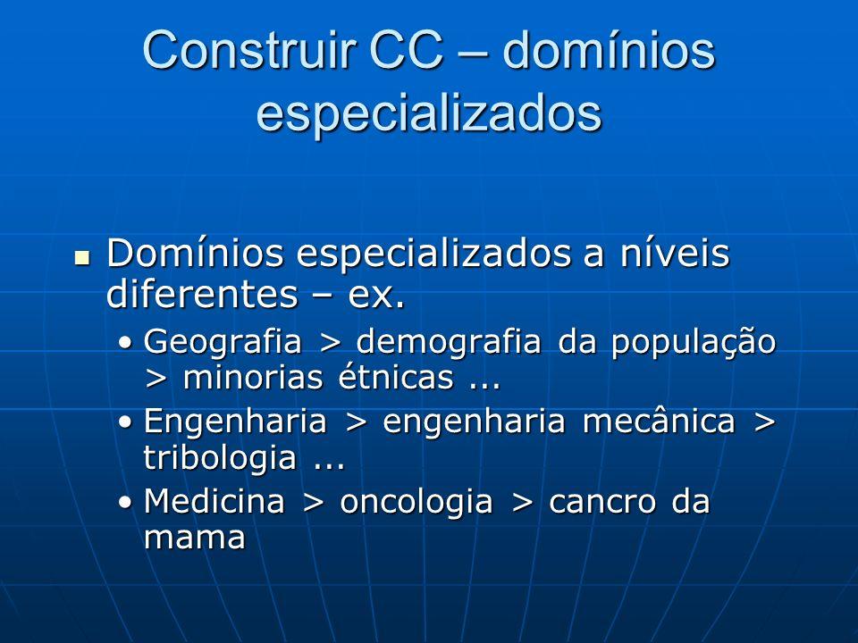 Construir CC – domínios especializados Domínios especializados a níveis diferentes – ex. Domínios especializados a níveis diferentes – ex. Geografia >