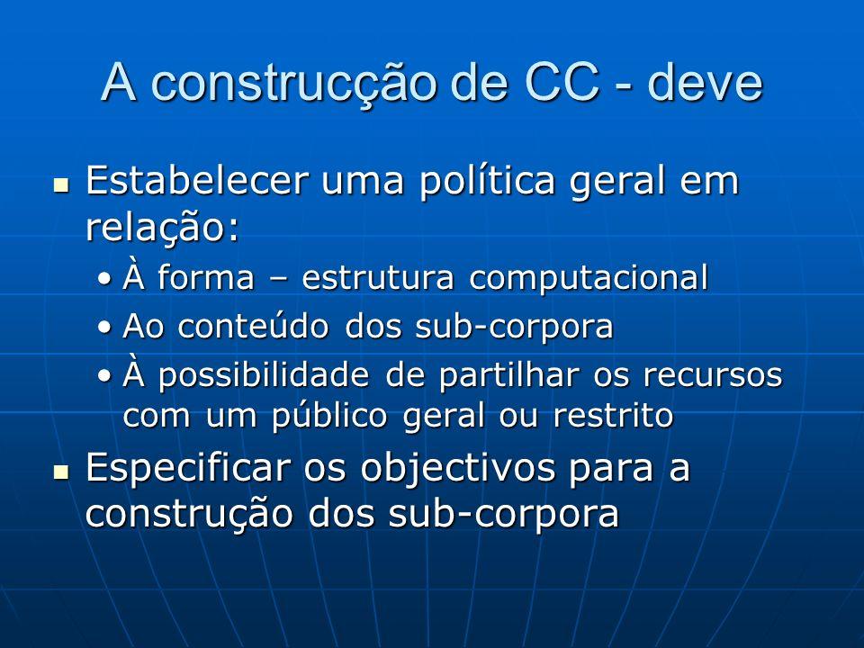 A construcção de CC - deve Estabelecer uma política geral em relação: Estabelecer uma política geral em relação: À forma – estrutura computacionalÀ fo