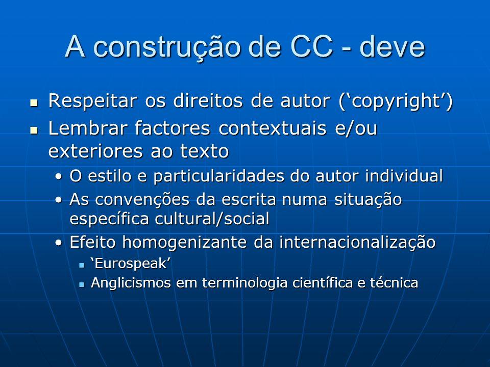 A construção de CC - deve Respeitar os direitos de autor (copyright) Respeitar os direitos de autor (copyright) Lembrar factores contextuais e/ou exte