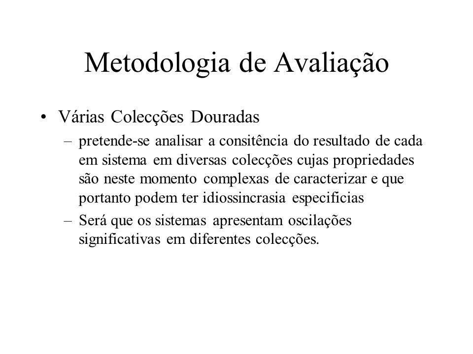 Metodologia de Avaliação Várias Colecções Douradas –pretende-se analisar a consitência do resultado de cada em sistema em diversas colecções cujas pro