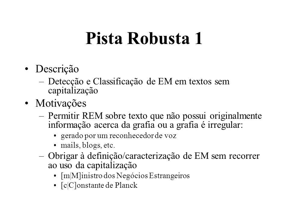 Pista Robusta 1 Descrição –Detecção e Classificação de EM em textos sem capitalização Motivações –Permitir REM sobre texto que não possui originalment
