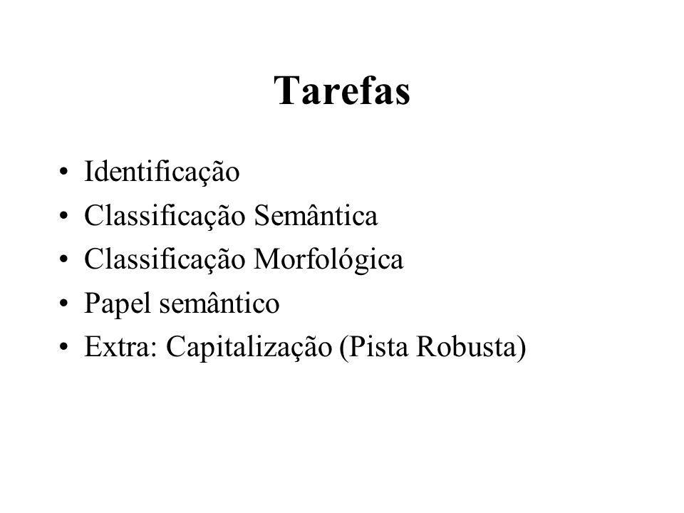 Tarefas Identificação Classificação Semântica Classificação Morfológica Papel semântico Extra: Capitalização (Pista Robusta)