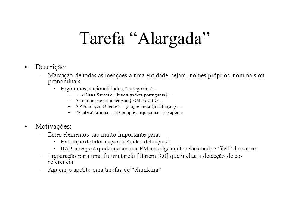 Tarefa Alargada Descrição: –Marcação de todas as menções a uma entidade, sejam, nomes próprios, nominais ou pronominais Ergónimos, nacionalidades, cat