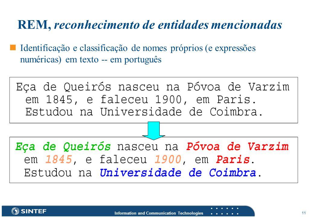 Information and Communication Technologies 11 REM, reconhecimento de entidades mencionadas Identificação e classificação de nomes próprios (e expressõ
