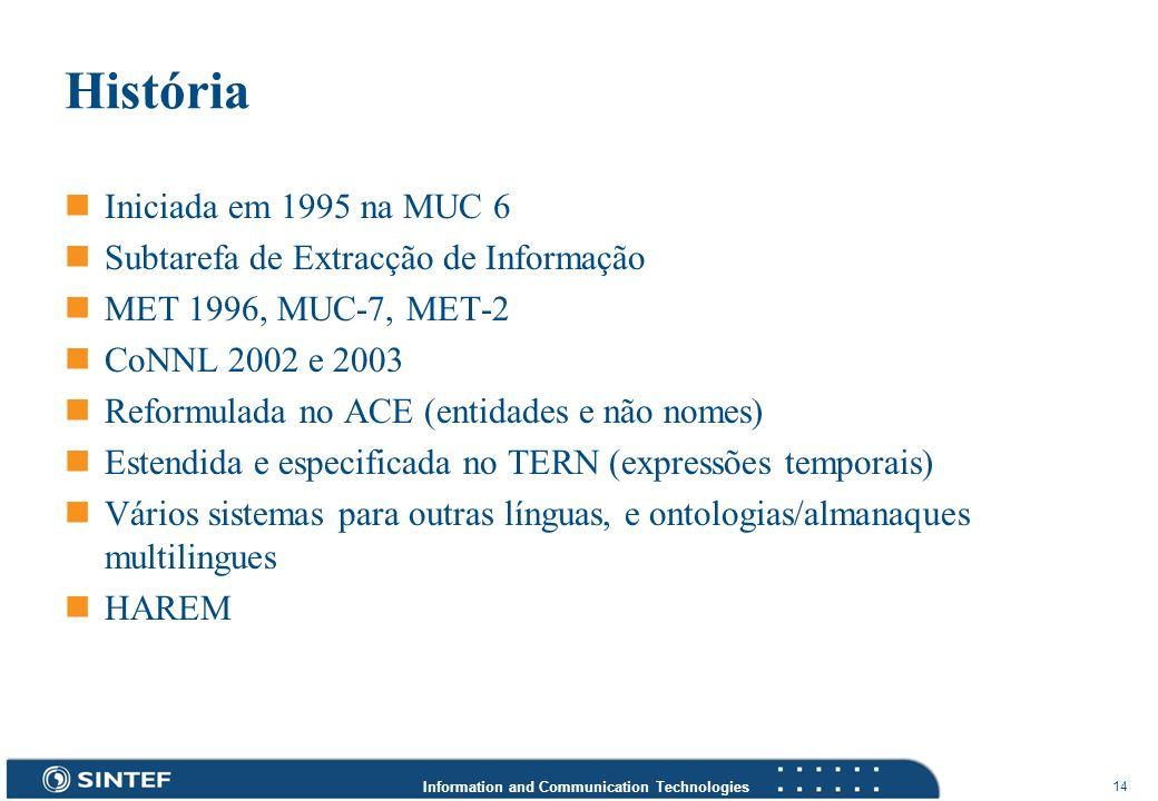 Information and Communication Technologies 14 História Iniciada em 1995 na MUC 6 Subtarefa de Extracção de Informação MET 1996, MUC-7, MET-2 CoNNL 200