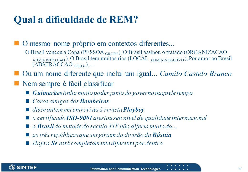 Information and Communication Technologies 18 Qual a dificuldade de REM? O mesmo nome próprio em contextos diferentes... O Brasil venceu a Copa (PESSO