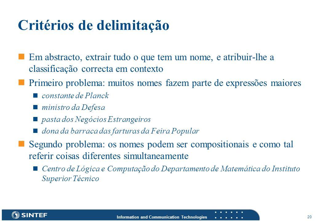 Information and Communication Technologies 20 Critérios de delimitação Em abstracto, extrair tudo o que tem um nome, e atribuir-lhe a classificação co