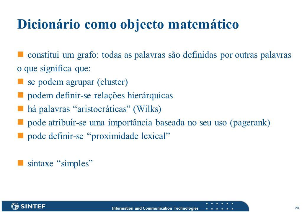 Information and Communication Technologies 28 Dicionário como objecto matemático constitui um grafo: todas as palavras são definidas por outras palavr