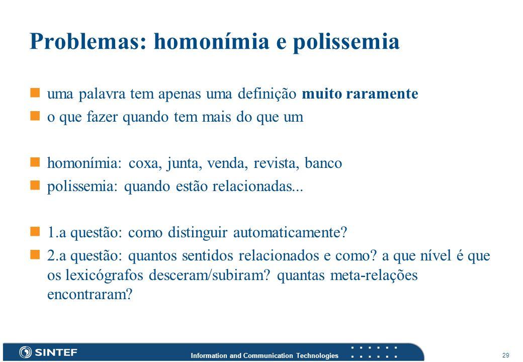 Information and Communication Technologies 29 Problemas: homonímia e polissemia uma palavra tem apenas uma definição muito raramente o que fazer quand