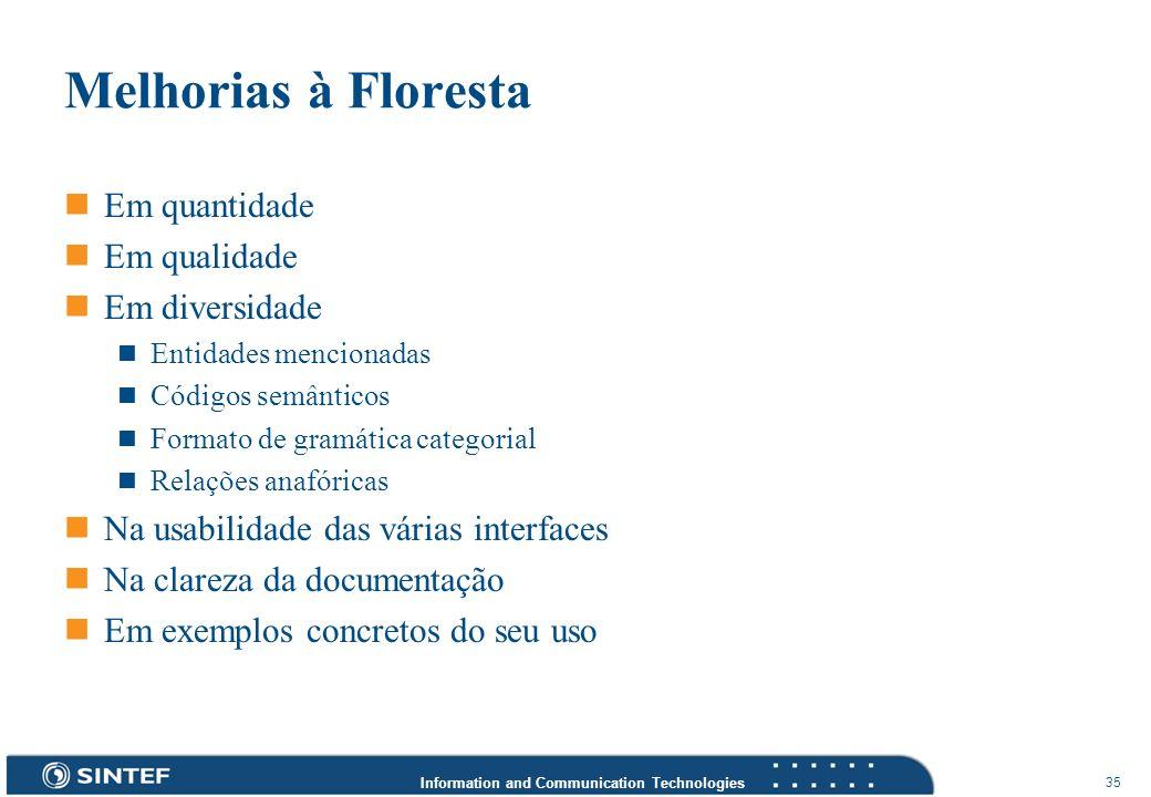 Information and Communication Technologies 35 Melhorias à Floresta Em quantidade Em qualidade Em diversidade Entidades mencionadas Códigos semânticos