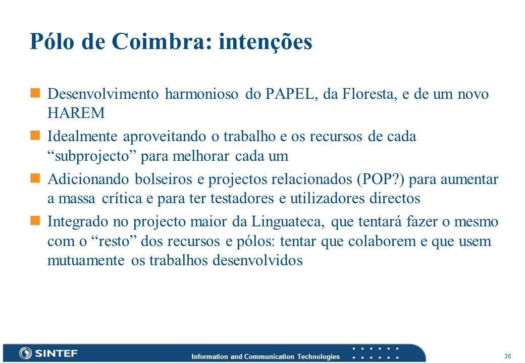 Information and Communication Technologies 36 Pólo de Coimbra: intenções Desenvolvimento harmonioso do PAPEL, da Floresta, e de um novo HAREM Idealmen
