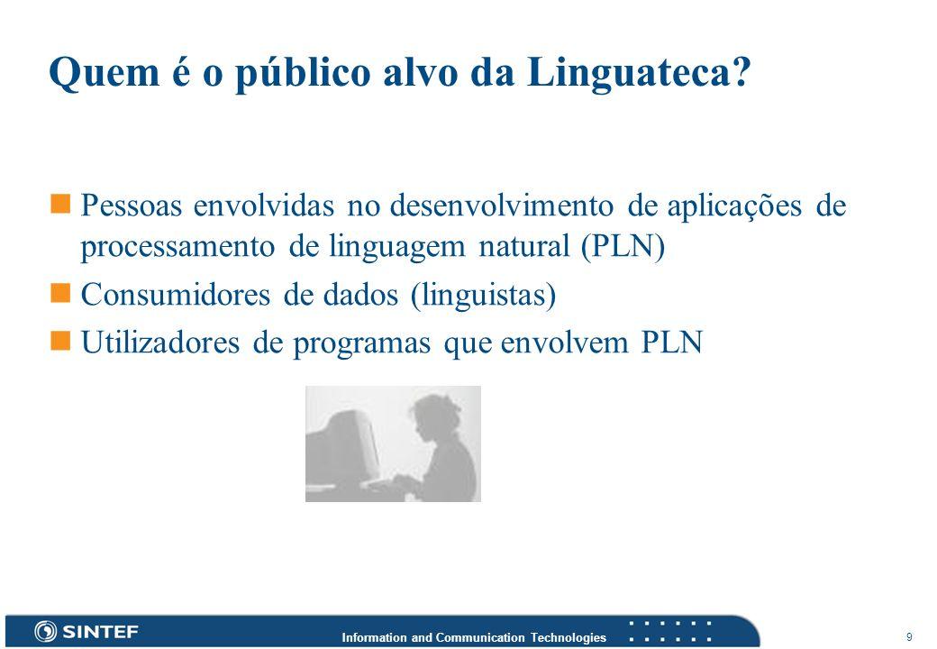 Information and Communication Technologies 9 Quem é o público alvo da Linguateca? Pessoas envolvidas no desenvolvimento de aplicações de processamento