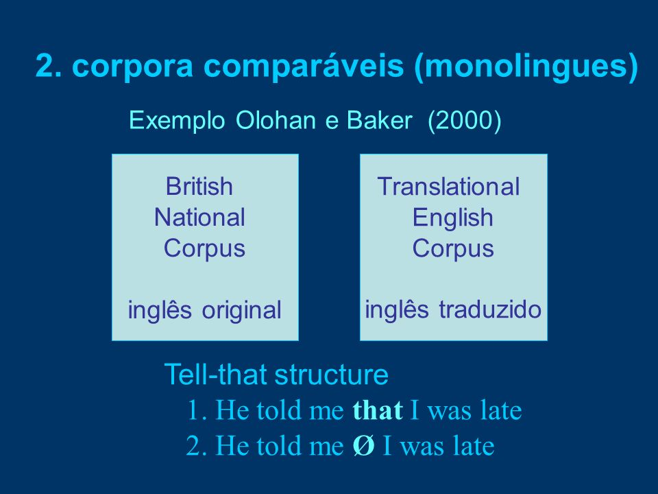 2. corpora comparáveis (monolingues) Exemplo Olohan e Baker (2000) Tell-that structure 1. He told me that I was late 2. He told me Ø I was late Britis
