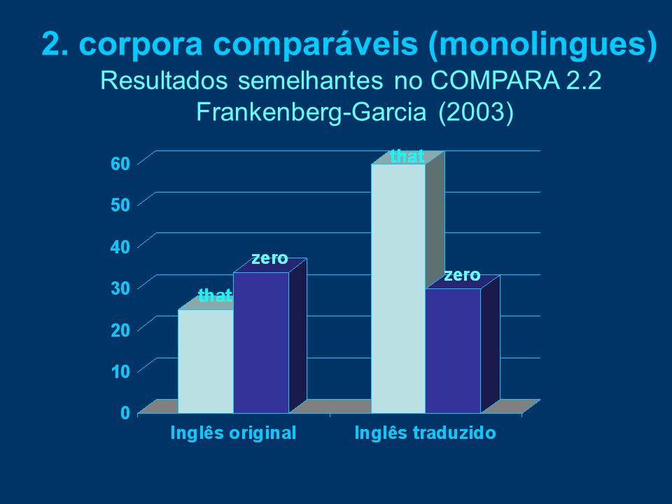 2. corpora comparáveis (monolingues) Resultados semelhantes no COMPARA 2.2 Frankenberg-Garcia (2003)
