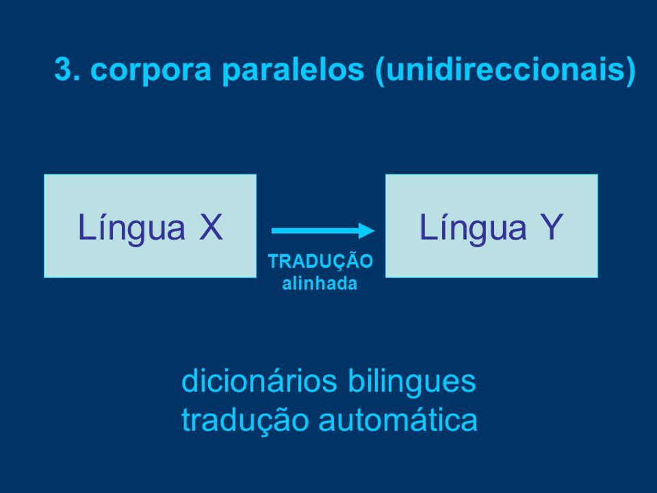 Língua XLíngua Y TRADUÇÃO alinhada 3. corpora paralelos (unidireccionais) dicionários bilingues tradução automática