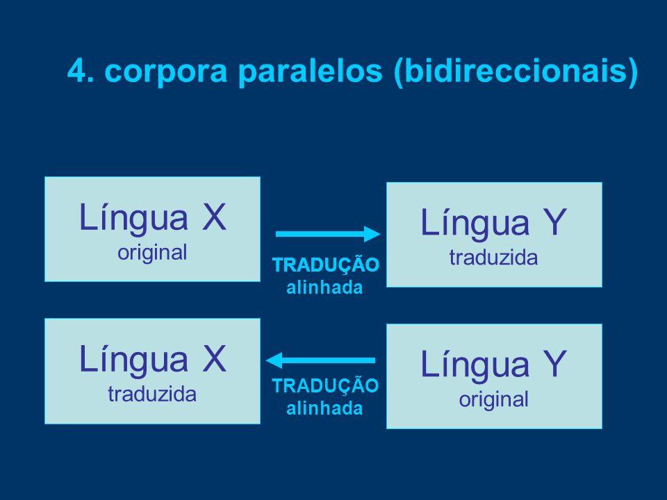 Língua X TRADUÇÃO 4. corpora paralelos (bidireccionais) Língua X original Língua Y traduzida TRADUÇÃO alinhada Língua X traduzida Língua Y original TR