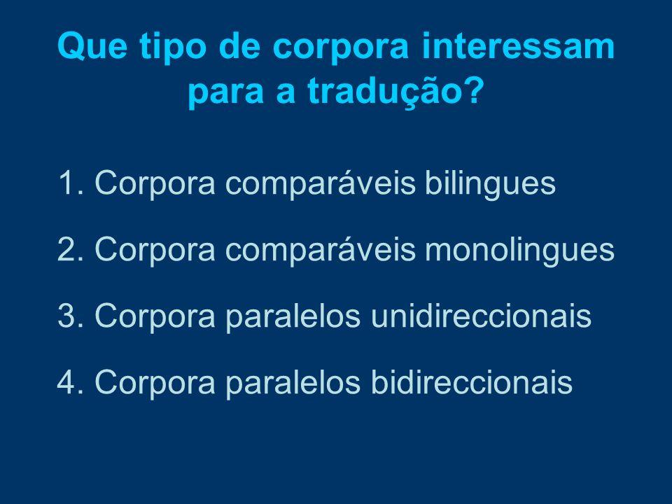 Que tipo de corpora interessam para a tradução? 1. Corpora comparáveis bilingues 2. Corpora comparáveis monolingues 3. Corpora paralelos unidirecciona