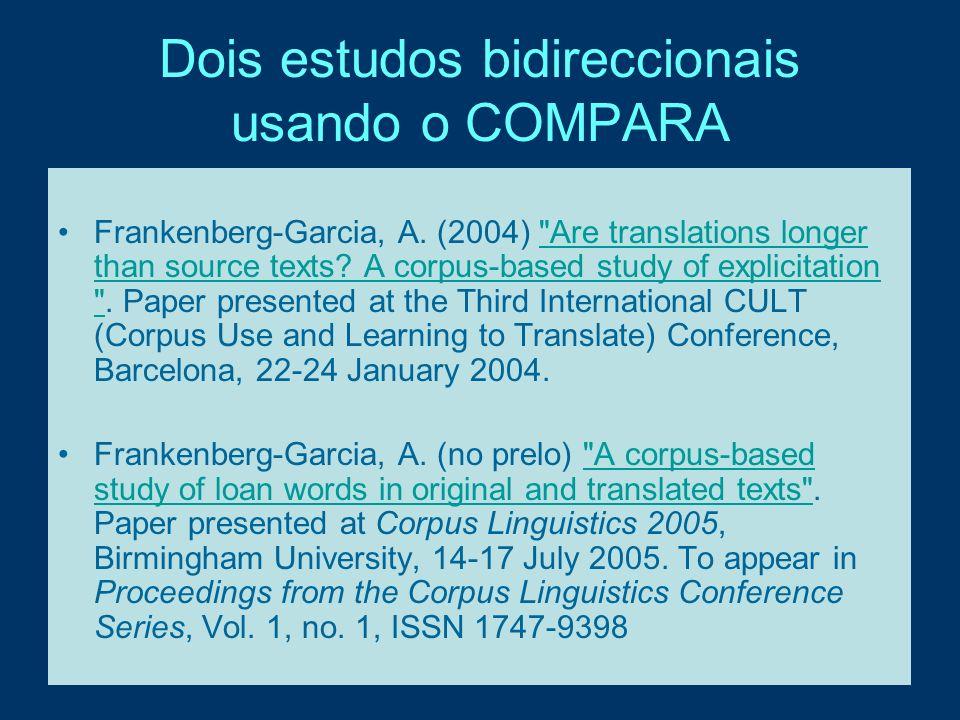 Dois estudos bidireccionais usando o COMPARA Frankenberg-Garcia, A. (2004)