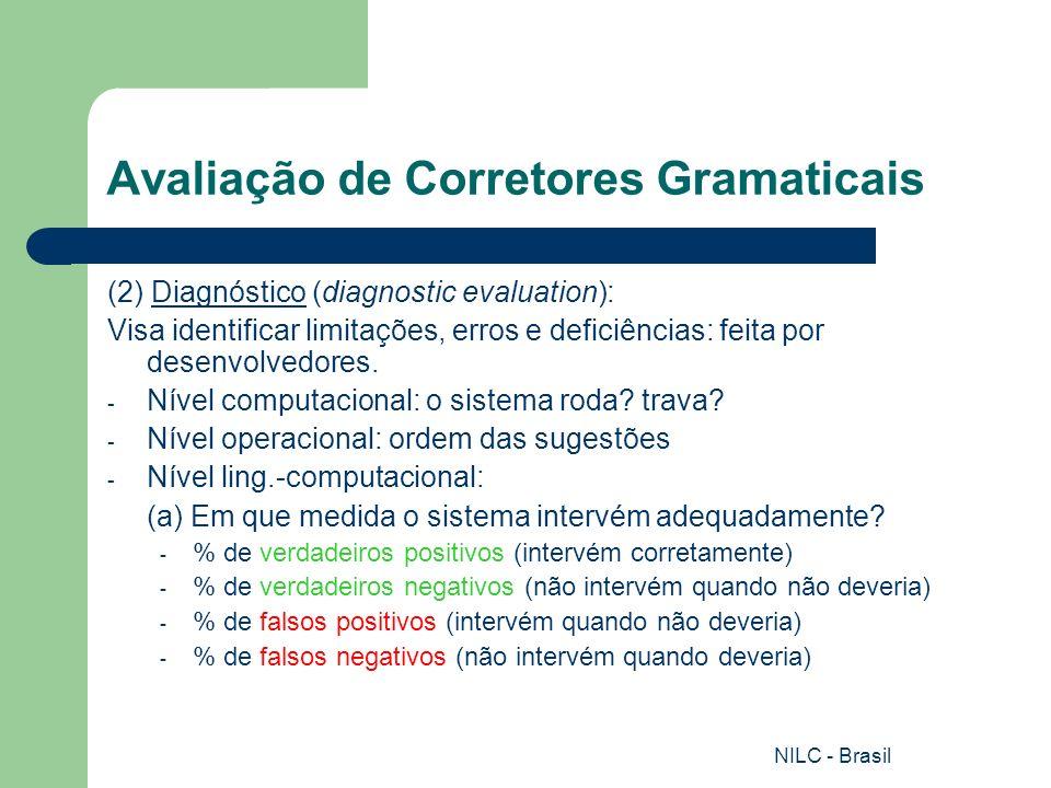 NILC - Brasil Avaliação de Corretores Gramaticais (2) Diagnóstico (diagnostic evaluation): Visa identificar limitações, erros e deficiências: feita po