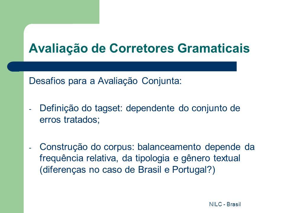 NILC - Brasil Avaliação de Corretores Gramaticais Avaliação do ReGra (Office 2000 e XP): Corpus etiquetado e formado de 11.624 sentenças reunidas de forma aleatória; 2.626 (22,5%) apresentam pelo menos um desvio em relação à norma-padrão da língua portuguesa, de acordo com a tipologia de problemas proposta pela ferramenta.