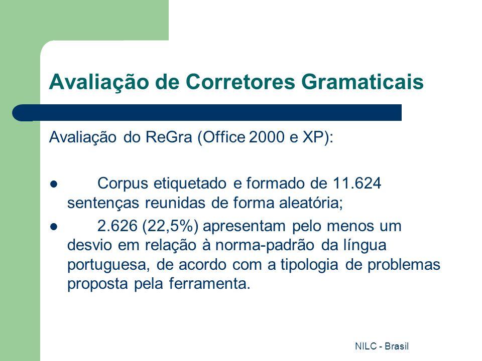 NILC - Brasil Avaliação de Corretores Gramaticais Avaliação do ReGra (Office 2000 e XP): Corpus etiquetado e formado de 11.624 sentenças reunidas de f