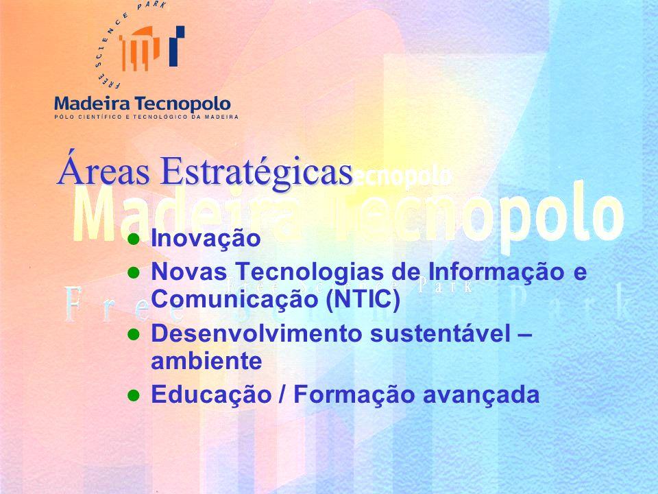 Áreas Estratégicas Inovação Novas Tecnologias de Informação e Comunicação (NTIC) Desenvolvimento sustentável – ambiente Educação / Formação avançada