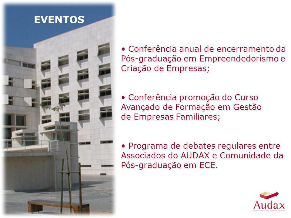 EVENTOS Conferência anual de encerramento da Pós-graduação em Empreendedorismo e Criação de Empresas; Conferência promoção do Curso Avançado de Formação em Gestão de Empresas Familiares; Programa de debates regulares entre Associados do AUDAX e Comunidade da Pós-graduação em ECE.