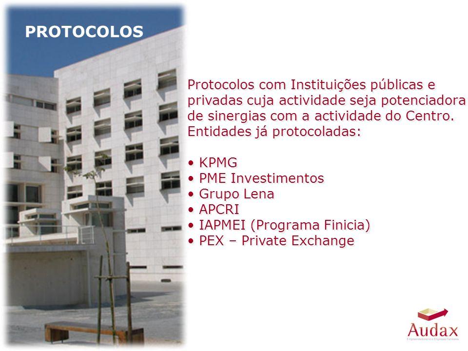 Protocolos com Instituições públicas e privadas cuja actividade seja potenciadora de sinergias com a actividade do Centro.
