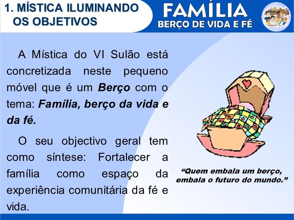 1. MÍSTICA ILUMINANDO OS OBJETIVOS A Mística do VI Sulão está concretizada neste pequeno móvel que é um Berço com o tema: Família, berço da vida e da