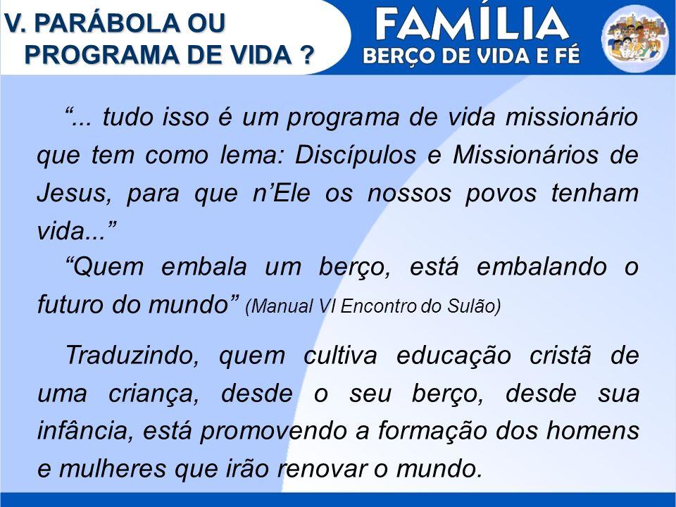 V. PARÁBOLA OU PROGRAMA DE VIDA ?... tudo isso é um programa de vida missionário que tem como lema: Discípulos e Missionários de Jesus, para que nEle