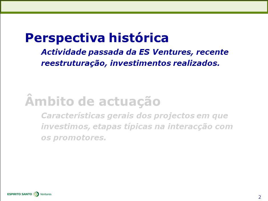 1 Perspectiva histórica Actividade passada da ES Ventures, recente reestruturação, investimentos realizados. Âmbito de actuação Características gerais