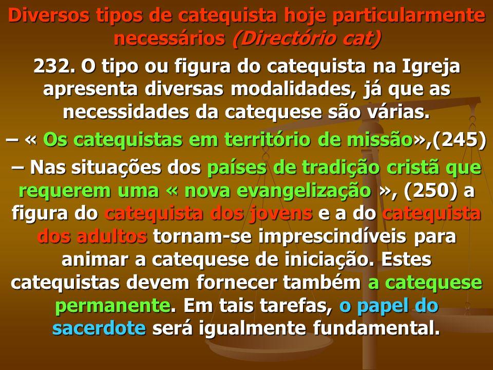 Diversos tipos de catequista hoje particularmente necessários (Directório cat) 232. O tipo ou figura do catequista na Igreja apresenta diversas modali