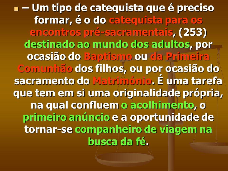 – Um tipo de catequista que é preciso formar, é o do catequista para os encontros pré-sacramentais, (253) destinado ao mundo dos adultos, por ocasião