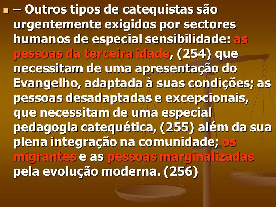 – Outros tipos de catequistas são urgentemente exigidos por sectores humanos de especial sensibilidade: as pessoas da terceira idade, (254) que necess