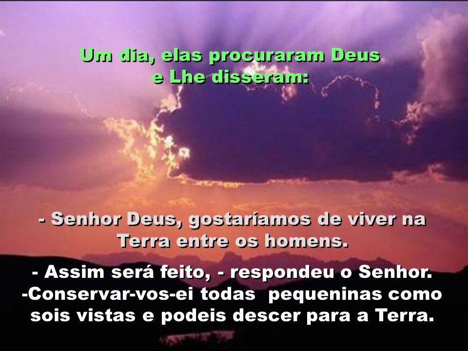 Um dia, elas procuraram Deus e Lhe disseram: - Senhor Deus, gostaríamos de viver na Terra entre os homens.