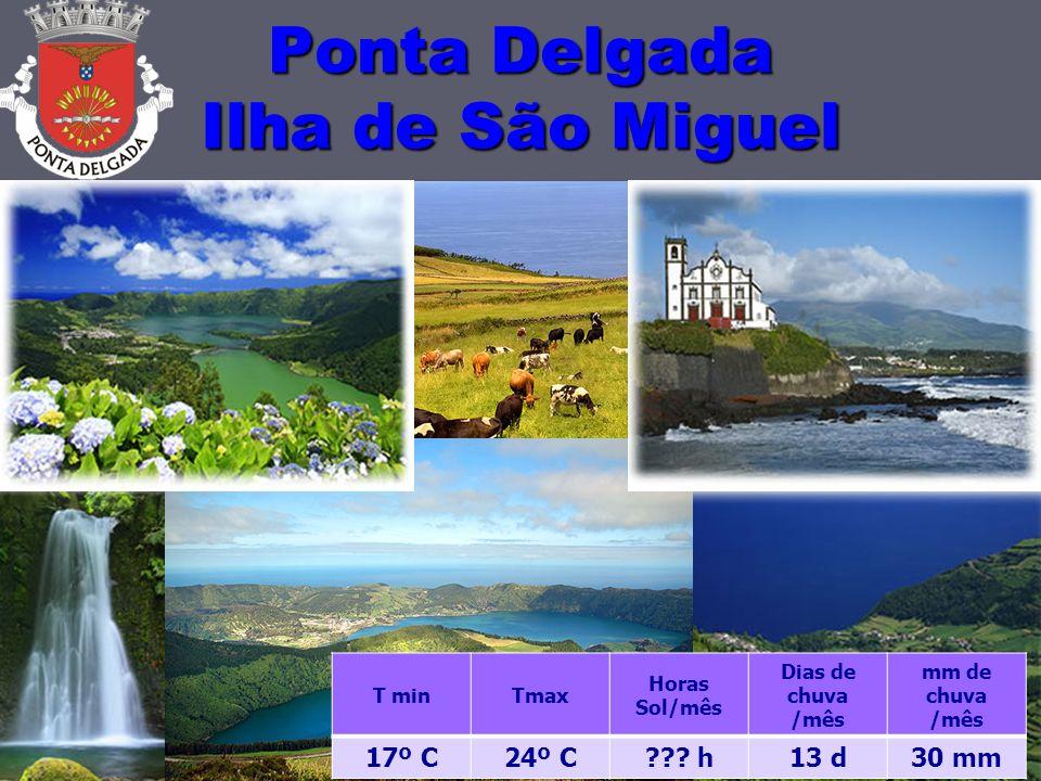 Ponta Delgada Ilha de São Miguel 10 T minTmax Horas Sol/mês Dias de chuva /mês mm de chuva /mês 17º C24º C .