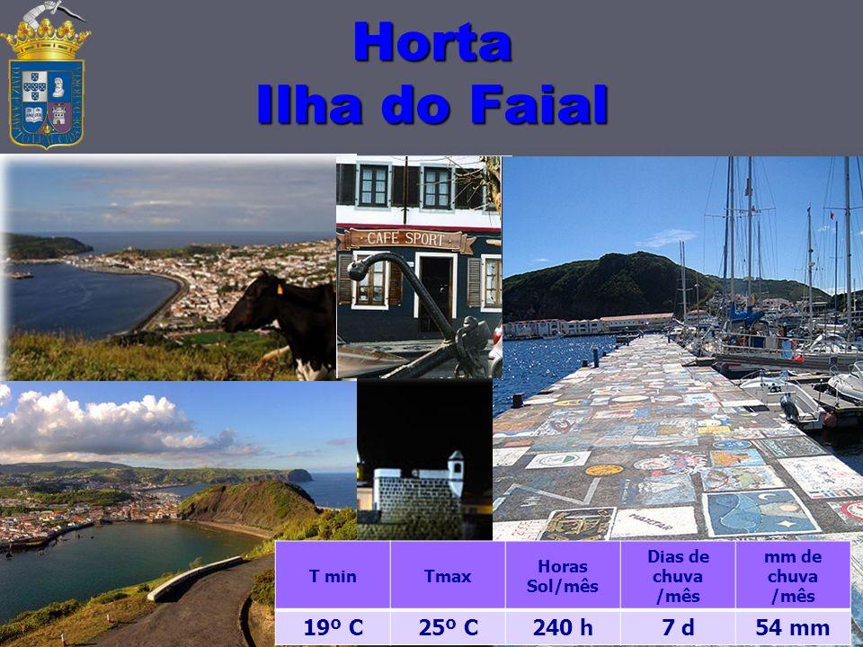 Horta Ilha do Faial 14 T minTmax Horas Sol/mês Dias de chuva /mês mm de chuva /mês 19º C25º C240 h7 d54 mm