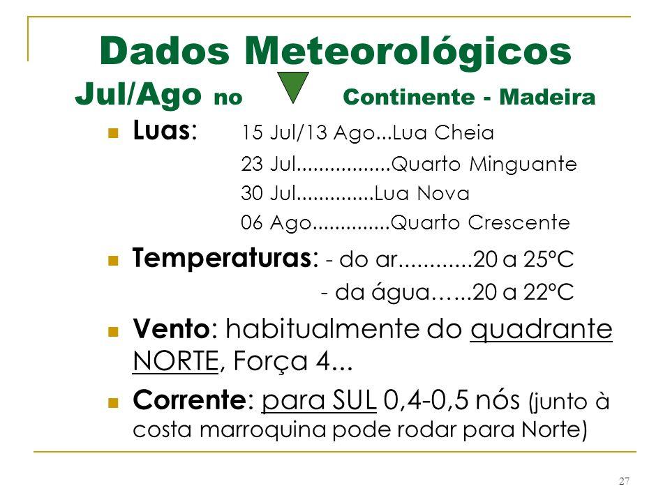 27 Dados Meteorológicos Jul/Ago no Continente - Madeira Luas : 15 Jul/13 Ago...Lua Cheia 23 Jul.................Quarto Minguante 30 Jul..............Lua Nova 06 Ago..............Quarto Crescente Temperaturas : - do ar............20 a 25ºC - da água…...20 a 22ºC Vento : habitualmente do quadrante NORTE, Força 4...