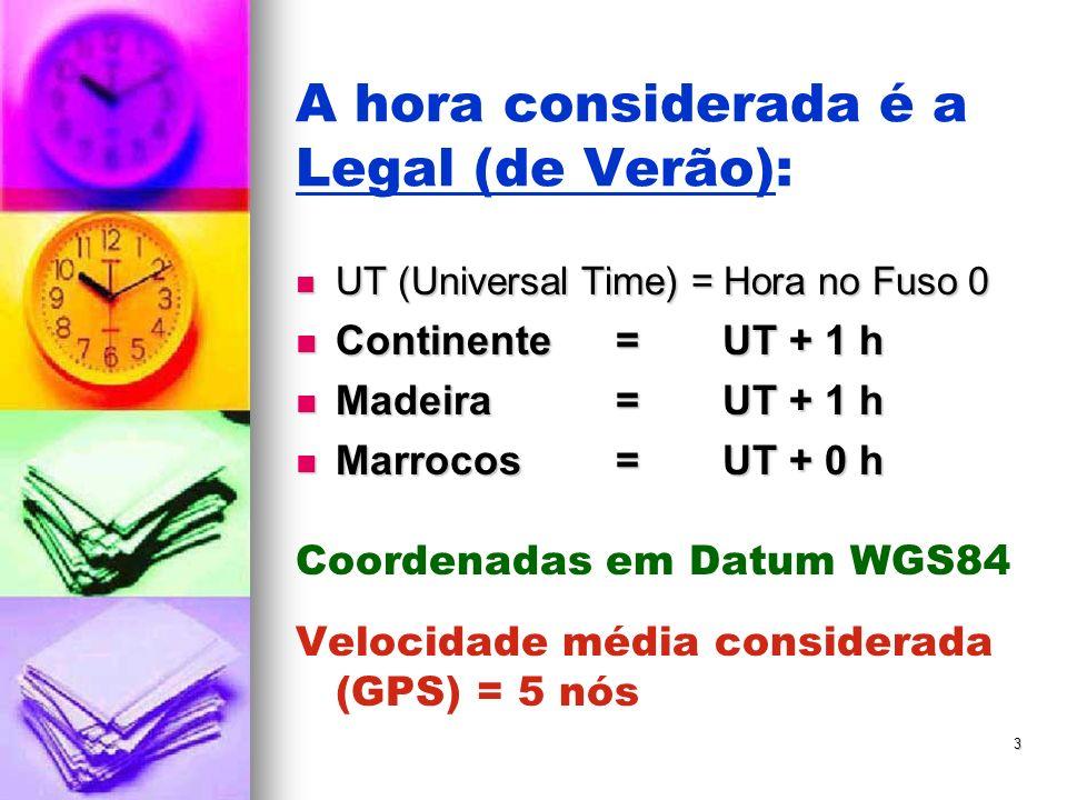 3 A hora considerada é a Legal (de Verão): UT (Universal Time) = Hora no Fuso 0 UT (Universal Time) = Hora no Fuso 0 Continente= UT + 1 h Continente= UT + 1 h Madeira= UT + 1 h Madeira= UT + 1 h Marrocos=UT + 0 h Marrocos=UT + 0 h Coordenadas em Datum WGS84 Velocidade média considerada (GPS) = 5 nós