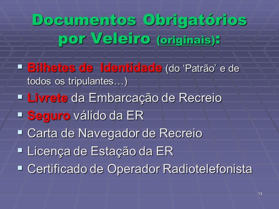 31 Documentos Obrigatórios por Veleiro (originais) : Bilhetes de Identidade (do Patrão e de todos os tripulantes…) Bilhetes de Identidade (do Patrão e de todos os tripulantes…) Livrete da Embarcação de Recreio Livrete da Embarcação de Recreio Seguro válido da ER Seguro válido da ER Carta de Navegador de Recreio Carta de Navegador de Recreio Licença de Estação da ER Licença de Estação da ER Certificado de Operador Radiotelefonista Certificado de Operador Radiotelefonista