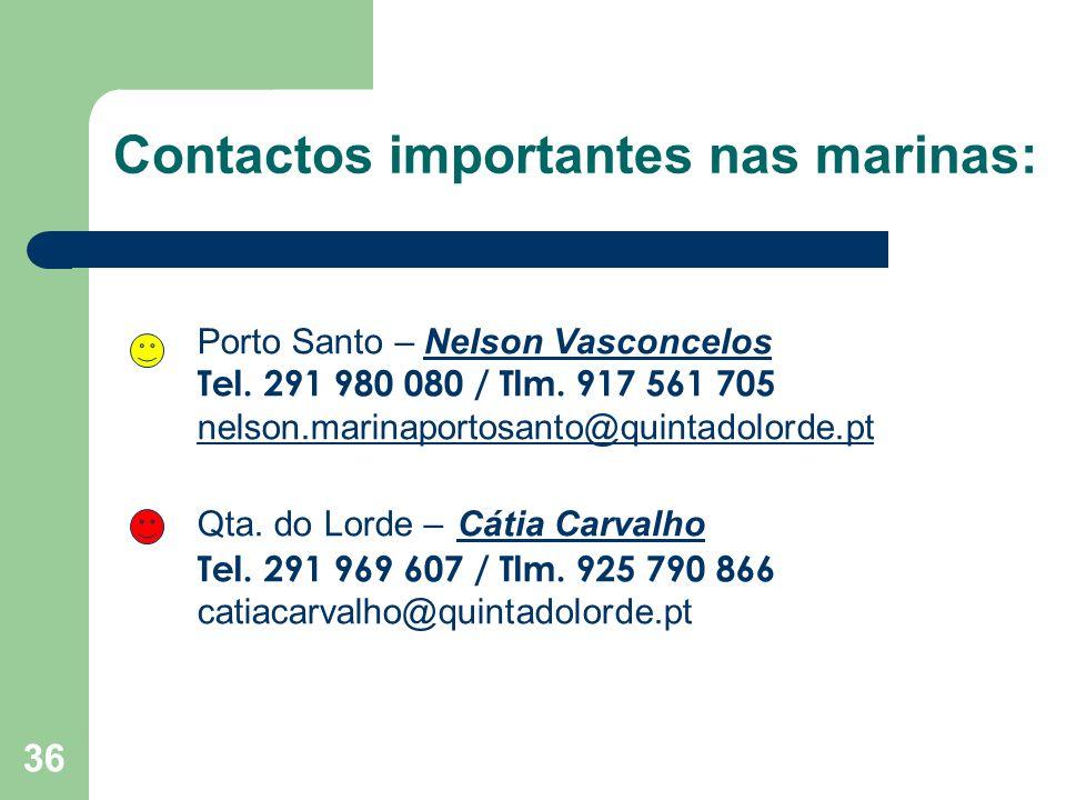 36 Contactos importantes nas marinas: Porto Santo – Nelson Vasconcelos Tel.
