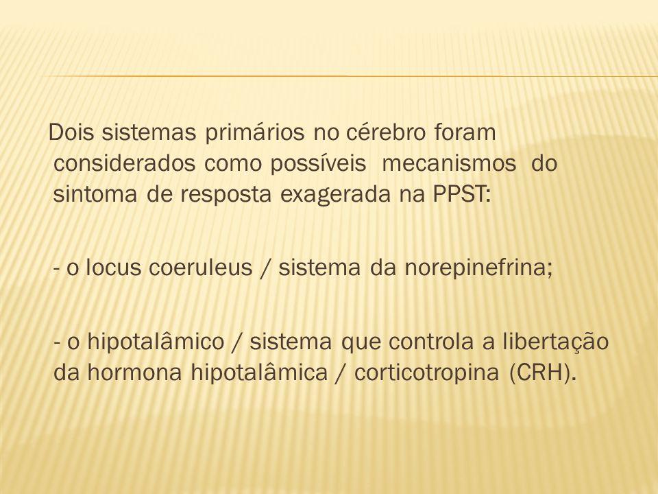 Dois sistemas primários no cérebro foram considerados como possíveis mecanismos do sintoma de resposta exagerada na PPST: - o locus coeruleus / sistema da norepinefrina; - o hipotalâmico / sistema que controla a libertação da hormona hipotalâmica / corticotropina (CRH).